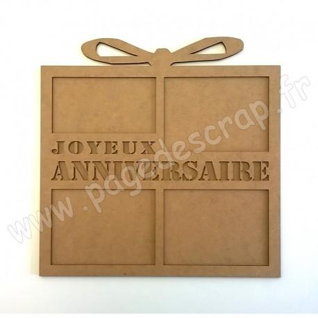 PDS CADRE BOIS CADEAU JOYEUX ANNIVERSAIRE  3 mm 30 cm x 30 cm