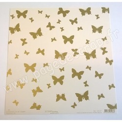 SCRAPBOOKING ADDICT COLLECTION L'OR ET L'ARGENT PAPILLONS OR 30.5 cm x 30.5 cm