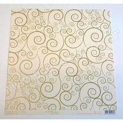 SCRAPBOOKING ADDICT COLLECTION L'OR ET L'ARGENT ARABESQUES OR 30.5 x30.5 cm