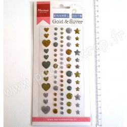 MARIANNE DESIGN BADGE EMAILLE GOLD & SILVER 72 pièces