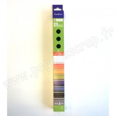 CARLACRAFT 3 SPIRALES EN PLASTIQUE POUR SYSTEME DE RELIURE BLEU FONCE 9 mm