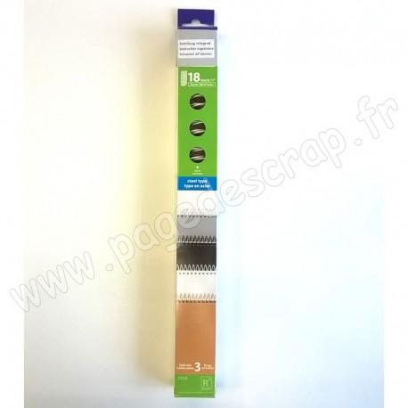 CARLACRAFT 3 SPIRALES EN ACIER POUR SYSTEME DE RELIURE BLANC 18 mm