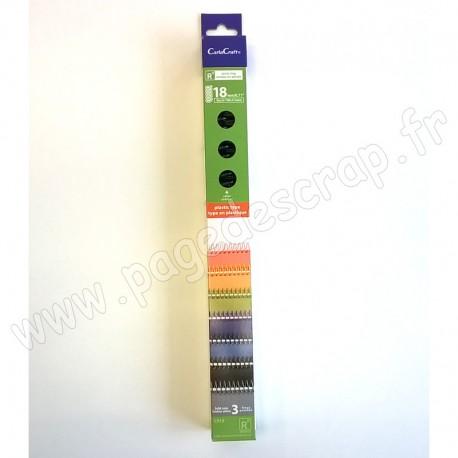 CARLACRAFT 3 SPIRALES EN PLASTIQUE POUR SYSTEME DE RELIURE BLEU FONCE 18 mm