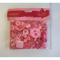 DOCRAFTS PAPERMANIA BOUTONS ASSORTIS (250gr) ROSE