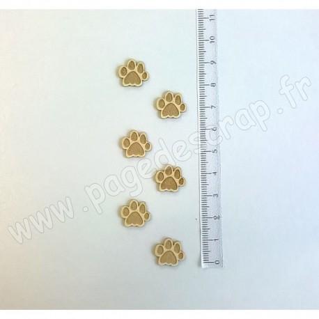 PDS SUJET BOIS FIN 1 mm PATTES DE CHAT X6 COLLECTION ANIMAUX