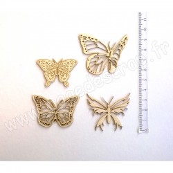 PDS SUJET BOIS FIN 1mm  PAPILLONS SET 1  COLLECTION PAPILLON