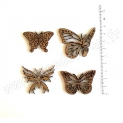PDS SUJET BOIS SET 1 PAPILLONS  X4 COLLECTION PAPILLON