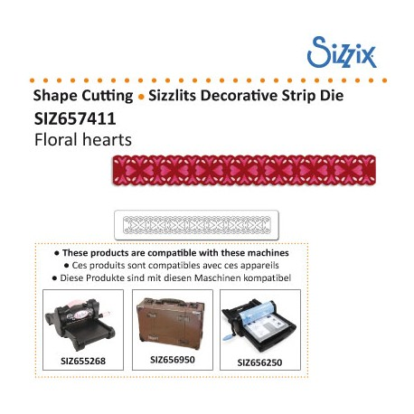 SIZZLITS DECORATIVE STRIP DIE FLORAL HEARTS