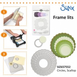 SIZZIX FRAMELITS DIE SET 8PK SCALLOP CIRCLES