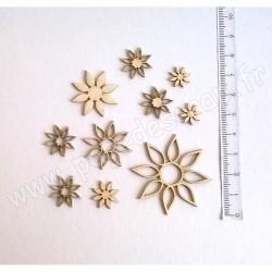 PDS SUJET BOIS FIN 1 mm ROSACES FLEURS x 10 COLLECTION FLEURS ET PLANTES