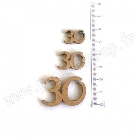 PDS SUJET BOIS 30 COLLECTION CHIFFRE 3 pièces