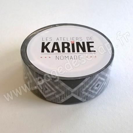 LES ATELIERS DE KARINE MASKING TAPE GEOMETRIQUE NOIR BLANC