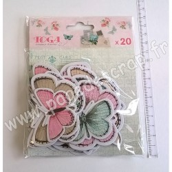 TOGA  ASSORTIMENT 20 CHIPBOARDS PAPILLONS SHABBY