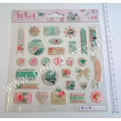 TOGA STICKERS EPOXY SHABBY LOVE 29 pièces