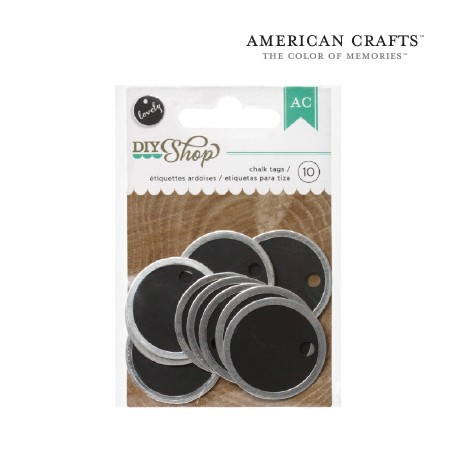 TAGS ROUND METAL RIMMED CHALK X10