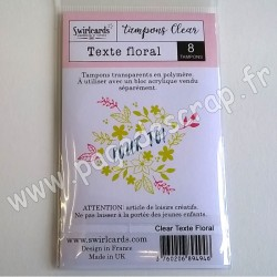 SWIRLCARDS TAMPON CLEAR TEXTE FLORAL