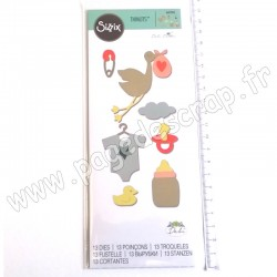 SIZZIX THINLITS DIE NEW BABY 13 outils