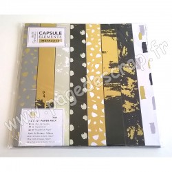 DOCRAFTS BLOC 36 FEUILLES CAPSULE COLLECTION ELEMENTS METALLICS 30 cm x 30 cm