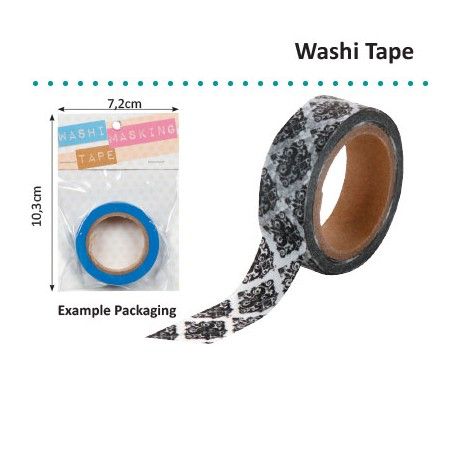 WASHI TAPE BLACK AND WHITE DAMASK