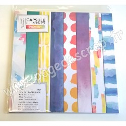 DOCRAFTS BLOC 36 FEUILLES CAPSULE COLLECTION ELEMENTS PIGMENT 30 cm x 30 cm