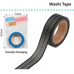 WASHI TAPE BLACK HORIZONTAL STRIPE