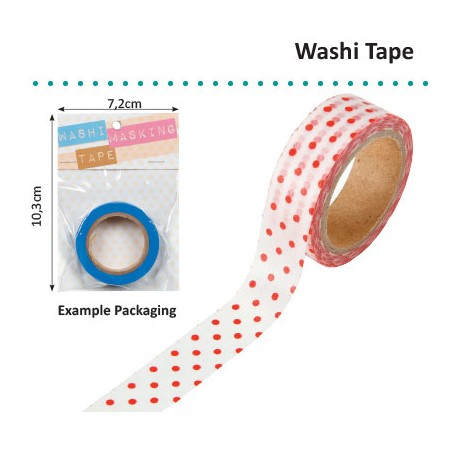 WASHI TAPE 15MMX8M WHITE WITH RED