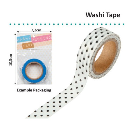 WASHI TAPE 15MMX8M WHITE WITH BLACK