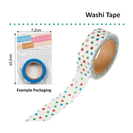 WASHI TAPE 15MMX8M WHITE MIXED