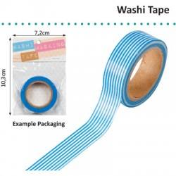 WASHI TAPE 15MMX8M WHITE WITH BLUE