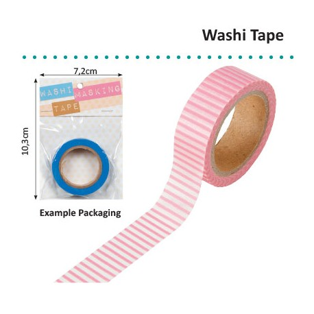 WASHI TAPE 15MMX8M PINK WITH WHITE