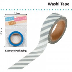WASHI TAPE 15MMX8M WHITE WITH SILVER