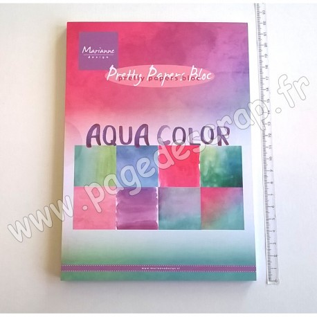 MARIANNE DESIGN BLOC AQUA COLOR A5 32 FEUILLES 8 DESSINS 15 cm x 21 cm