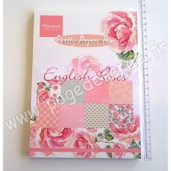 MARIANNE DESIGN BLOC ENGLISH ROSES 32 FEUILLES 8 DESSINS 15 cm x 21 cm