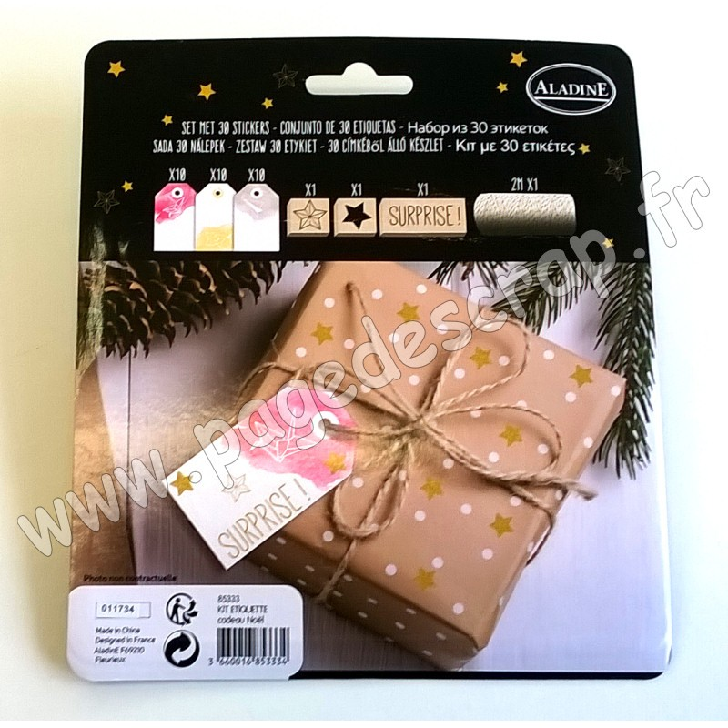 Aladine aladine kit etiquettes cadeau noel - Etiquette cadeau noel ...