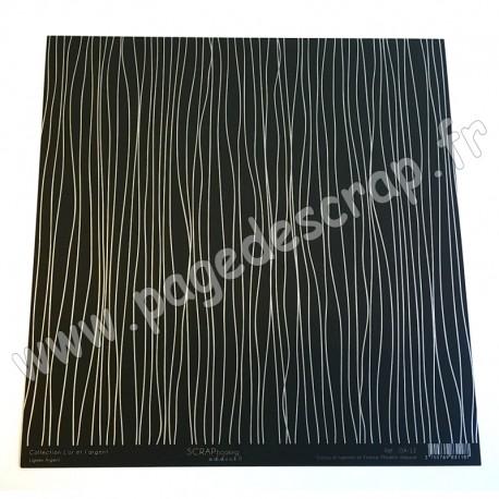 SCRAPBOOKING ADDICT COLLECTION L'OR ET L'ARGENT LIGNES ARGENT 30.5 x30.5 cm