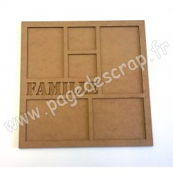 PDS CADRE BOIS FAMILLE AVEC FOND 30 cm x 30 cm