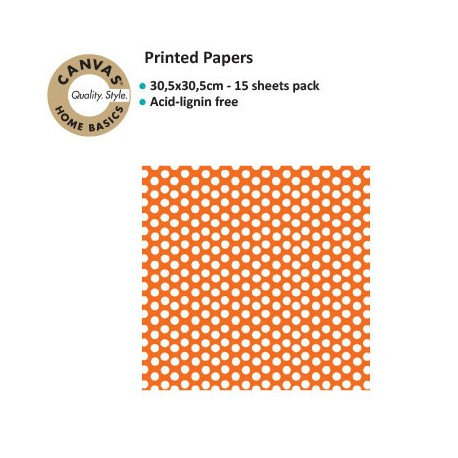 CANVAS CORPPRINTED PAPER ORANGE WHITE DOT