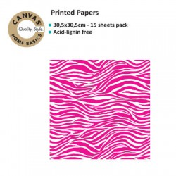 CANVAS CORP PRINTED PAPER HOT PINK WHITE ZEBRA