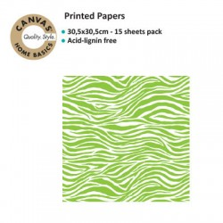 CANVAS CORP PRINTED PAPER LIME GREEN WHITE ZEBRA