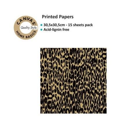 CANVAS CORP PRINTES PAPER BLACK KRAFT LEOPARD