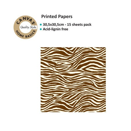 CANVAS CORP PRINTED PAPER CHOCO IVORY ZEBRA