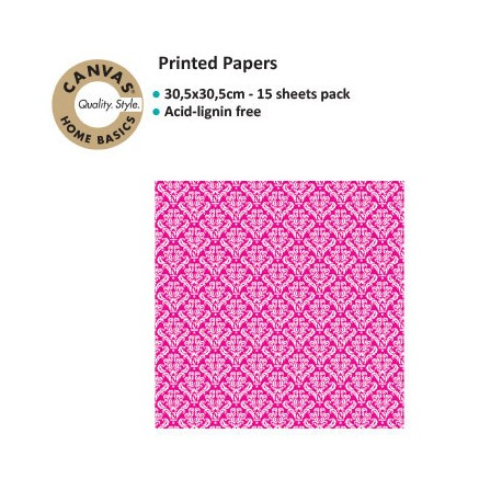 CANVAS CORP PRINTED PAPER HOT PINK WHITE DAMASK