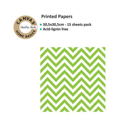 CANVAS CORP PRINTED PAPER GREEN WHITE CHEVRON