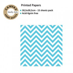CANVAS CORP PRINTED PAPER TURQUOISE WHITE CHEVRON