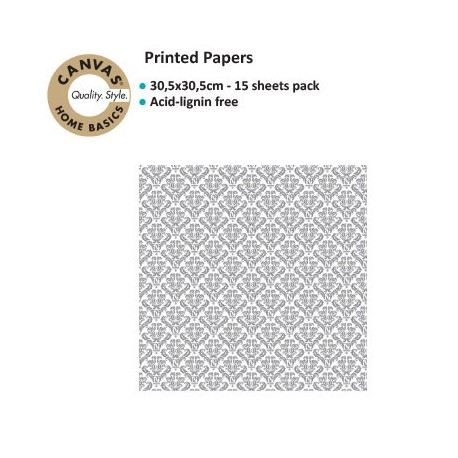 CANVAS CORP PRINTED PAPER GREY WHITE DAMASK