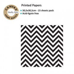 CANVAS CORP PRINTED PAPER BLACK WHITE CHEVRON