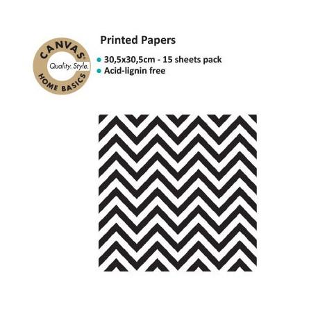 CANVAS CORP PRINTED PAPER BLACK WHITE CHEVRON