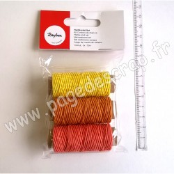 RAYHER KIT CORDONS DE CHANVRE 1mm JAUNE ORANGE ROUGE
