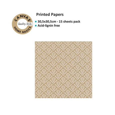CANVAS CORP PRINTED PAPER WHITE KRAFT DAMASK