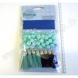 DOCRAFTS PAPERMANIA PACK EMBELLISSEMENTS CAPSULE MOROCCAN BLUE 10 pièces